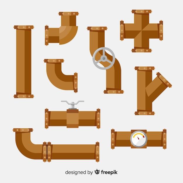 Плоские металлические трубы с комплектом клапанов Бесплатные векторы