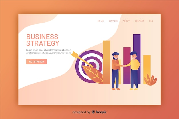 フラットなデザインのビジネス戦略のランディングページ 無料ベクター