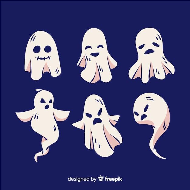 Ручной обращается хэллоуин призрак коллекция Бесплатные векторы