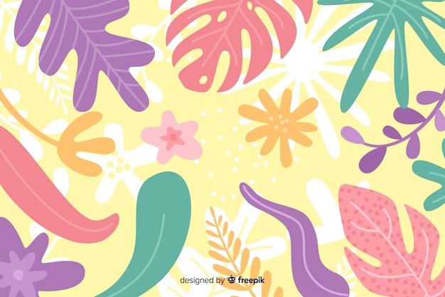 花の手描きと抽象的な背景 無料ベクター