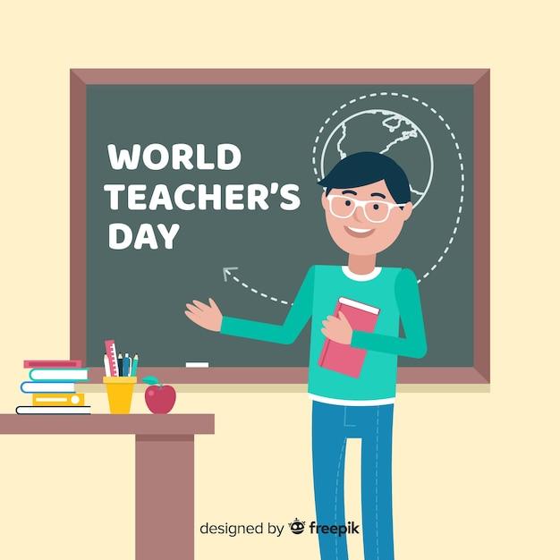 フラットデザインの世界教師の日 無料ベクター