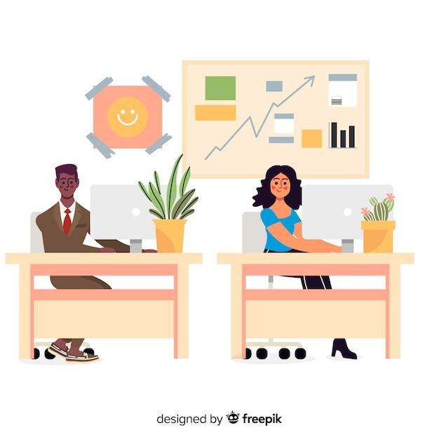 机に座ってフラットなデザインのオフィスワーカー 無料ベクター