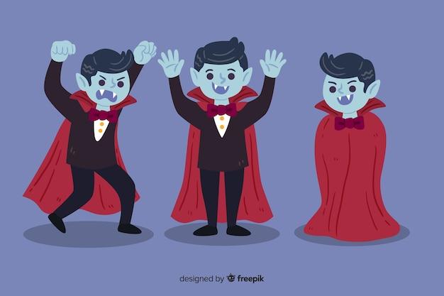 Коллекция рисованной персонажей-вампиров Бесплатные векторы
