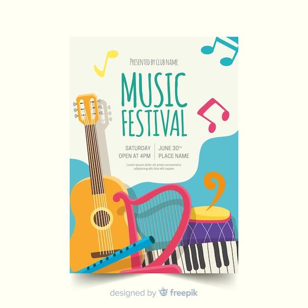 Ручной обращается музыкальный плакат шаблон Бесплатные векторы