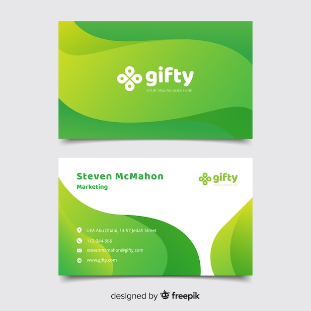 Зеленый абстрактный шаблон визитной карточки Бесплатные векторы