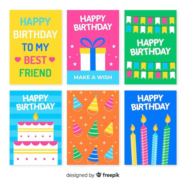 カラフルな手描きの誕生日招待状コレクション 無料ベクター