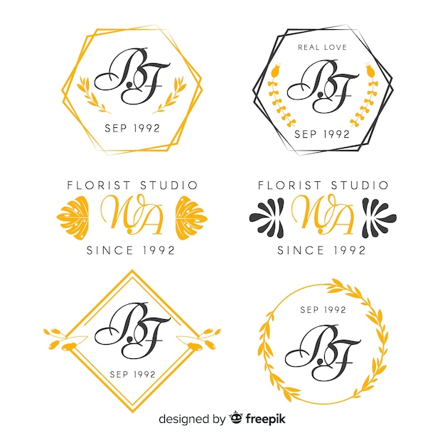 Свадебная коллекция монограмм логотипов Бесплатные векторы