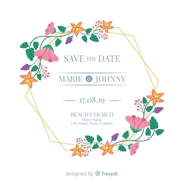 結婚式招待状の平らな花のフレーム 無料ベクター