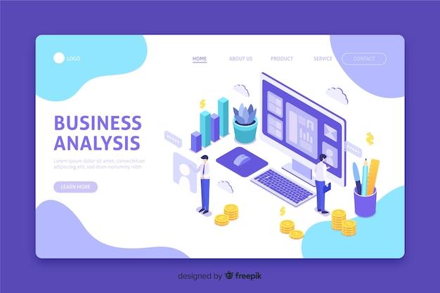 ビジネス分析を含むランディングページ 無料ベクター
