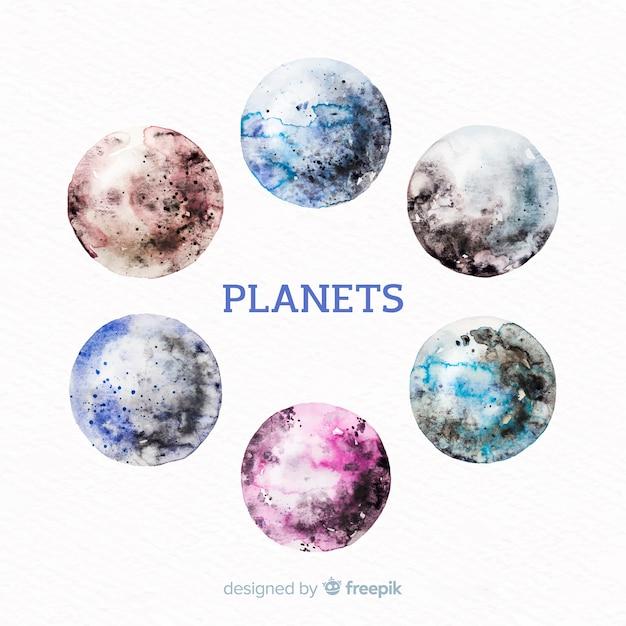 カラフルな水彩惑星コレクション 無料ベクター