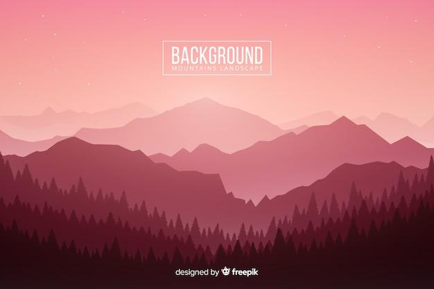 木と山のグラデーションピンクライト 無料ベクター