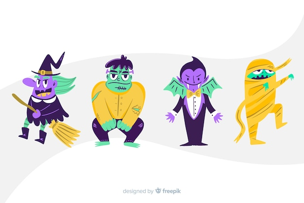 Коллекция персонажей мультфильма хэллоуин Бесплатные векторы
