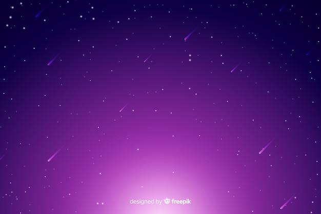 Градиент звездного ночного неба с падающими звездами Бесплатные векторы