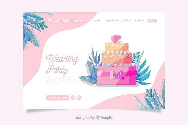 Целевая страница с изображением торта Бесплатные векторы