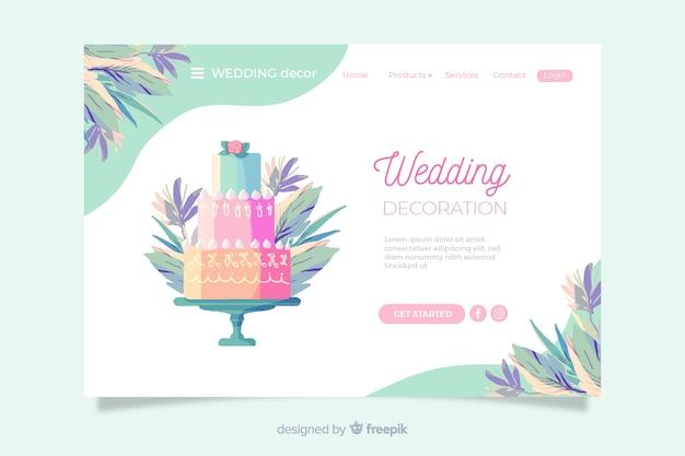 Свадебная посадочная страница с красочным тортом Бесплатные векторы