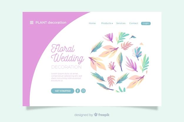 花の装飾品で結婚式のランディングページ 無料ベクター