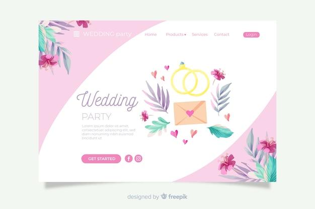 Свадебная посадочная страница с милыми орнаментами Бесплатные векторы
