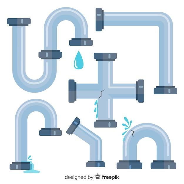 Плоский дизайн коллекции водопроводных труб Бесплатные векторы