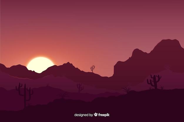 Закат пустынный пейзаж с градиентными цветами Бесплатные векторы