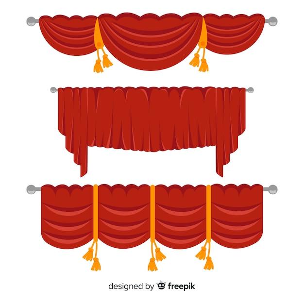 フラットなデザインの赤いカーテンコレクション 無料ベクター