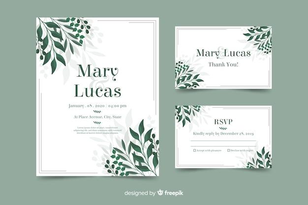 葉を持つ結婚式の招待状のテンプレート 無料ベクター
