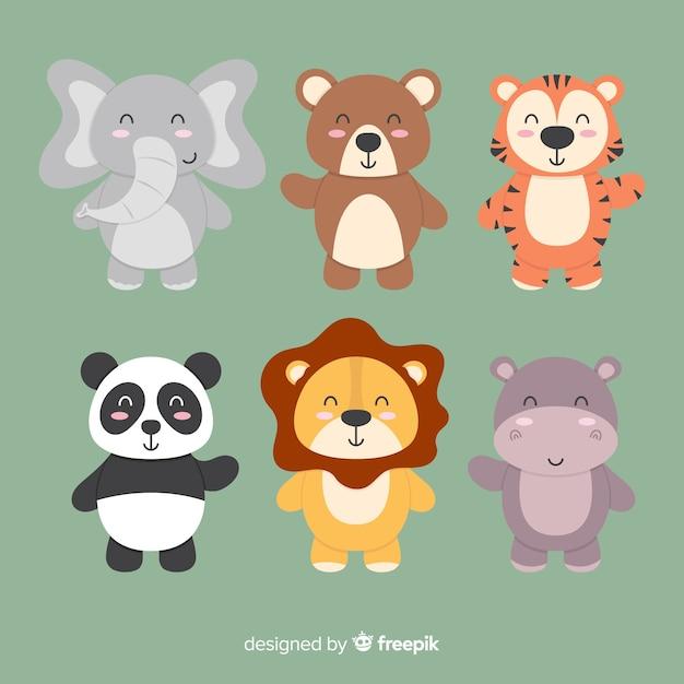 Набор милый мультфильм животных Бесплатные векторы