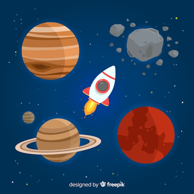 Плоский дизайн коллекции планеты Бесплатные векторы