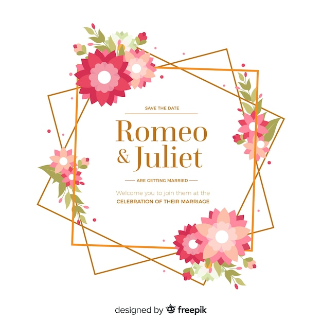 フラットなデザインで花の結婚式の招待状フレーム 無料ベクター