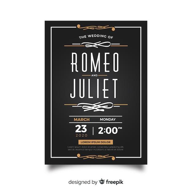 レトロなデザインの黒の結婚式の招待状のテンプレート 無料ベクター