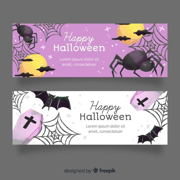 クモの巣とクモの水彩ハロウィーンバナー 無料ベクター