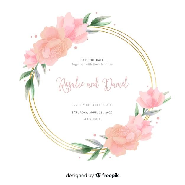 結婚式招待状にピンクの水彩花のフレーム 無料ベクター