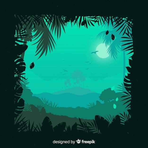 風景熱帯林の背景 無料ベクター