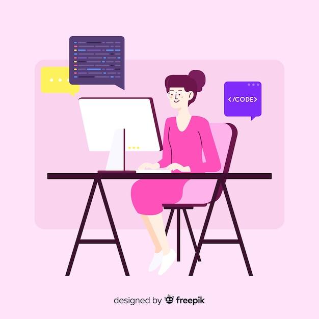 フラットなデザインの女性プログラマーのコーディング 無料ベクター