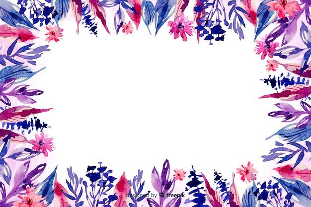 バイオレットシェード水彩花の背景の花 無料ベクター