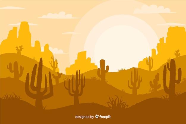 Желтые оттенки фон с силуэтами кактусов Бесплатные векторы