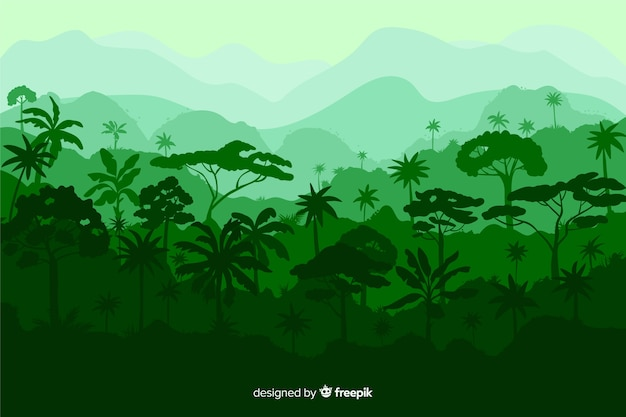 さまざまな木の美しい熱帯林の風景 無料ベクター