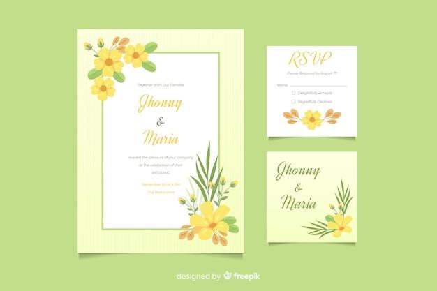 花のフレームテンプレートでかわいい結婚式招待状 無料ベクター