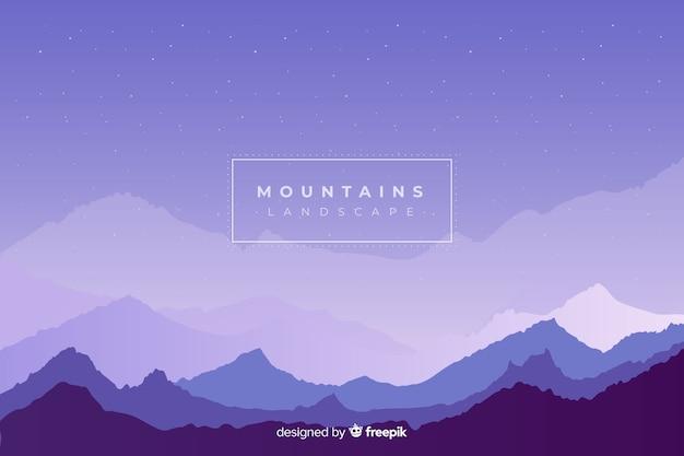 Ночное небо над цепью гор Бесплатные векторы