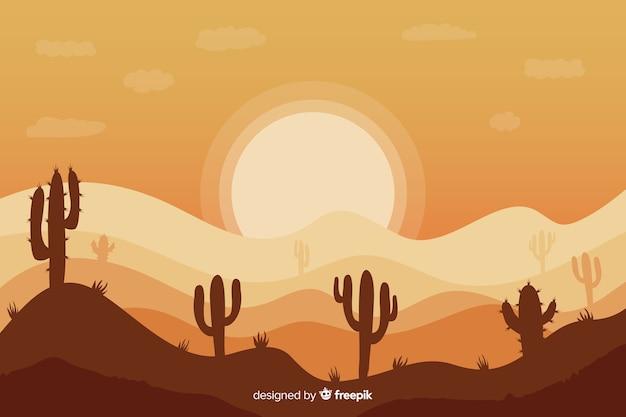 サボテンの配置と夜明けの風景 無料ベクター