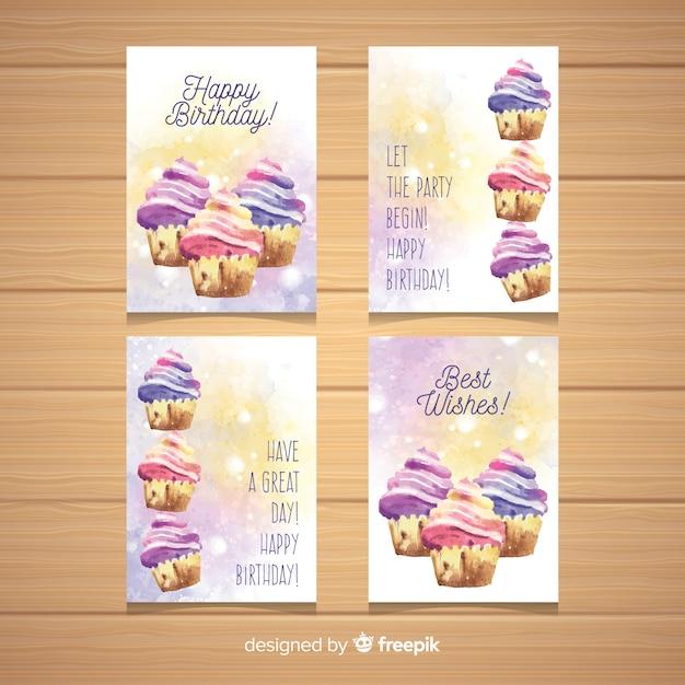 水彩カップケーキ誕生日カードコレクション 無料ベクター