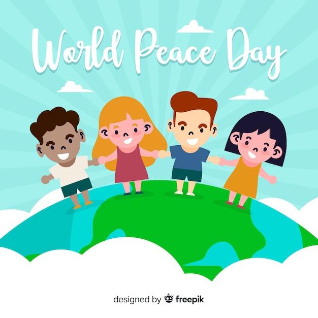 子供たちと手描きの平和の日 無料ベクター