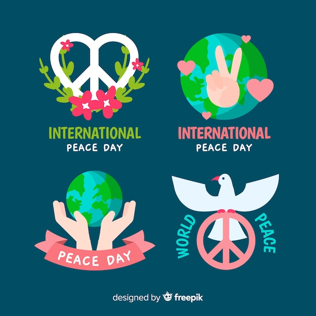 手描きの平和の日バッジコレクション 無料ベクター