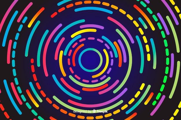 Геометрические неоновые круглые формы фон Бесплатные векторы