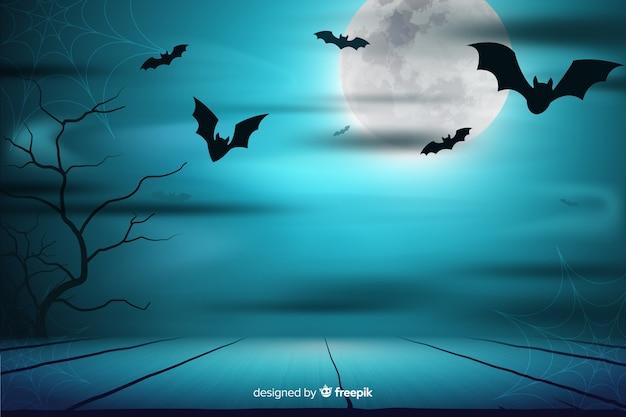 満月の夜とコウモリの背景 無料ベクター
