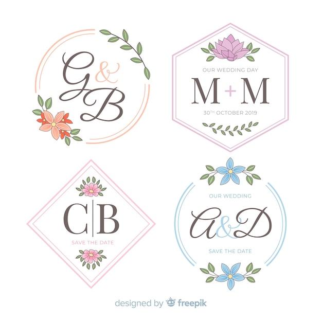 美しい結婚式モノグラムロゴ 無料ベクター