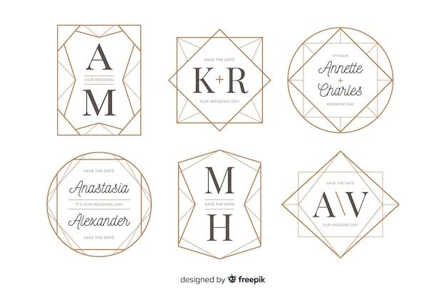 結婚式のモノグラムロゴのコレクション 無料ベクター