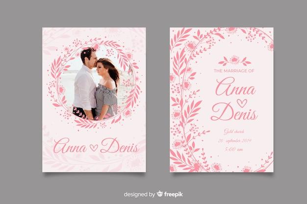 Розовое свадебное приглашение с фото Бесплатные векторы