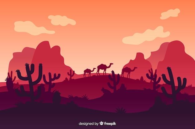 Пустынный пейзаж с горами и верблюдами Бесплатные векторы