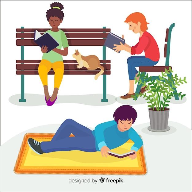屋外で読むフラットなデザインの若いキャラクター 無料ベクター