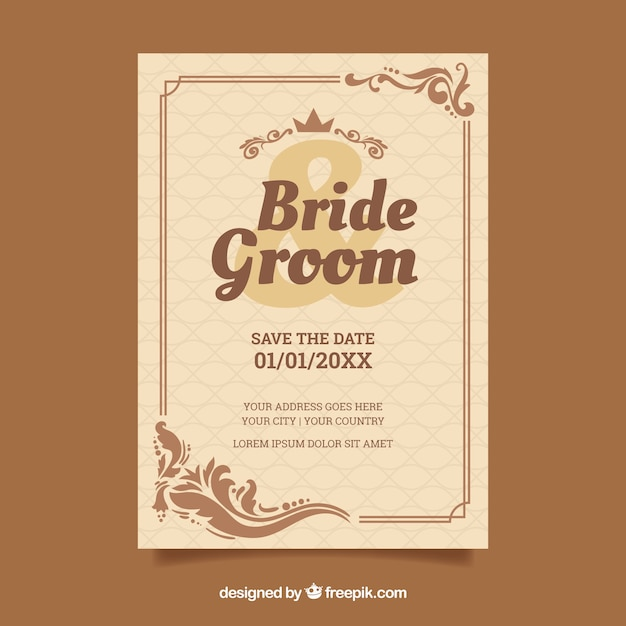 茶色のビンテージ結婚式の招待状のテンプレート 無料ベクター